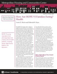 How Are HOPE VI Families Faring? Health - Urban Institute