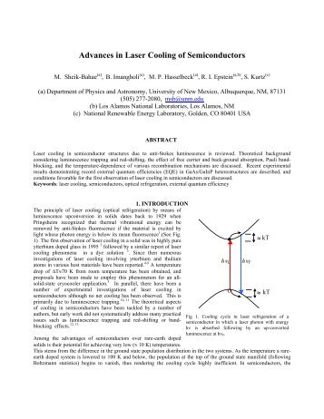 Advances in Laser Cooling of Semiconductors - Optical Science and ...