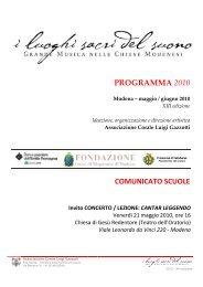 Comunicato Scuole CANTAR LEGGENDO - Coro Luigi Gazzotti