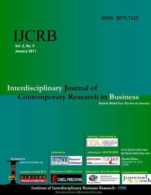 Interdisciplinary Journal of Contemporary Research in     - Webs