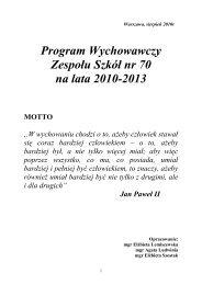 Program Wychowawczy Zespołu Szkół nr 70 na lata 2010-2013