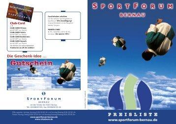 PREISLISTE Die Geschenk-Idee - SportForum Bernau