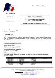 note d'organisation du 7ème critérium indoor de la ligue de l'Ouest