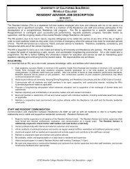 RESIDENT ADVISOR JOB DESCRIPTION - Revelle College