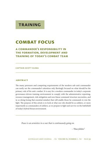 Combat Focus: A Commanders Responsibility in ... - Australian Army