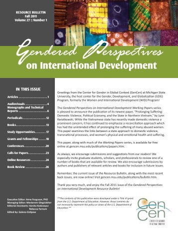 Fall 2011 Bulletin Vol. 27, Number 1 (PDF) - Center for Gender in ...