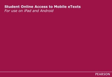 Student Online Access to Mobile eText - my Pearson Training