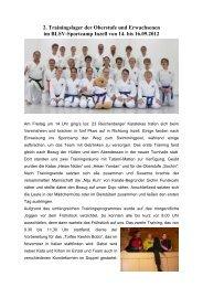 2. Trainingslager der Oberstufe und Erwachsenen im BLSV ...