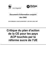 Critique du plan d'action de la CE pour les pays ACP touchés par la ...