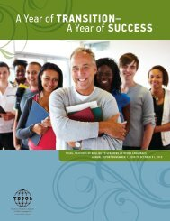 A Year of TransiTion– A Year of success - TESOL