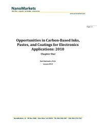 NanoMarkets Opportunities in Carbon-Based Inks, Pastes, and ...