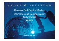 Kenyan Call Centre Market - Growth Consulting - Frost & Sullivan