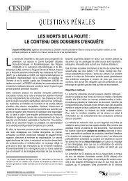 les morts de la route : le contenu des dossiers d'enquête - Cesdip
