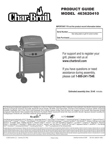 Product guide model 463620410 - Char-Broil Grills