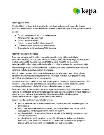 Tobin-Spahn-vero Tämä artikkeli esittelee kaksi suosituinta ... - Kepa.fi