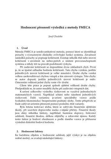 Hodnocení přesnosti výsledků z metody FMECA