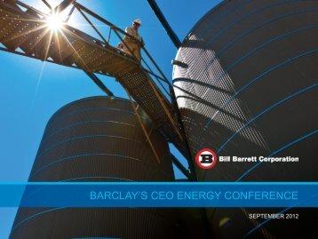 View the presentation - Bill Barrett Corporation
