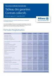 Tableau des garanties Contrats collectifs - Allianz Worldwide Care