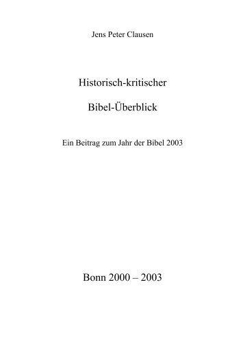 Jens Peter Clausen: Historisch-kritischer Bibel-Überblick