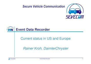 Secure Vehicle Communication Event Data Recorder ... - Sevecom