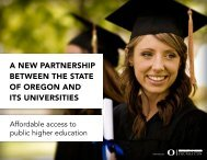 a new partnership between the state of oregon and its universities