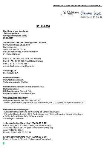 Fon: 0171 / 94 23 625 (Karl-Heinz Heise) - Sporthaus Verden