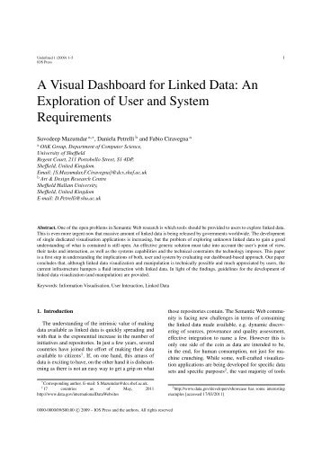 A Visual Dashboard for Linked Data - Semantic Web Journal