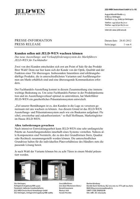 PRESSE-INFORMATION PRESS RELEASE ... - JELD-WEN Türen