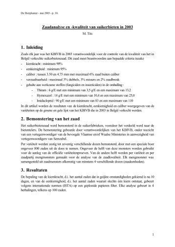 1. Inleiding 2. Bemonstering van het zaad 3. Resultaten