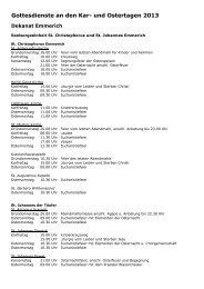 Gottesdienste an den Kar- und Ostertagen 2013 - Kreisdekanat.de