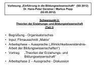 Theorien der Bildungs- und Erziehungswissenschaft I 02. 05. 2012