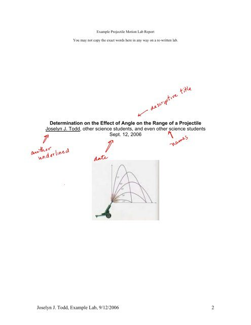 Example Projectile Motion Lab Report - Cary Academy