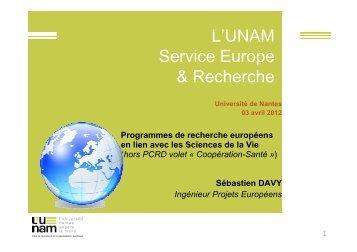 Sébastien DAVY - Service Europe et recherche - L'UNAM