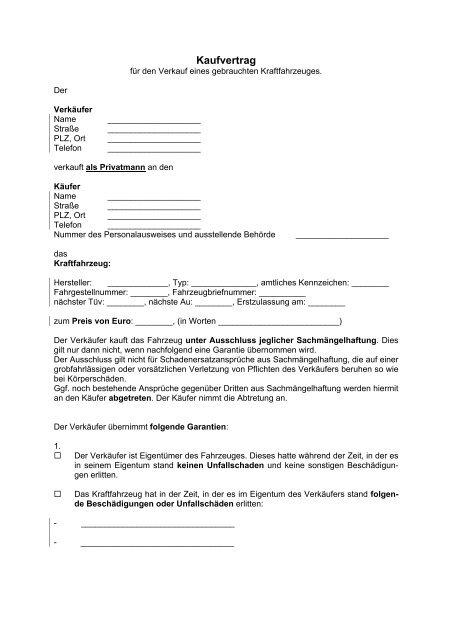 Formular Pkw Kaufvertrag Pdf