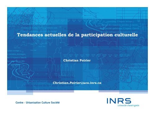 Tendances actuelles de la participation culturelle
