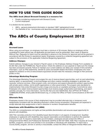 The ABCs of County Employment  2012 - Broward County
