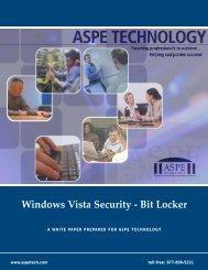 Windows Vista Security - Bit Locker - ASPE