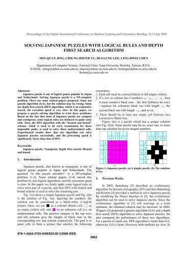 solving japanese puzzles with logical rules and depth first search ...
