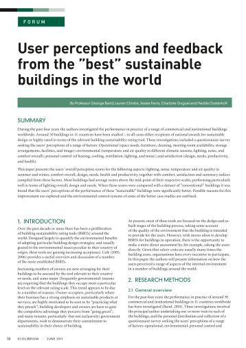 "User perceptions and feedback from the ""best"" sustainable buildings in the world"