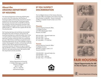 2008 Fair Housing Brochure 3 panel 2.indd - Arizona Department of ...