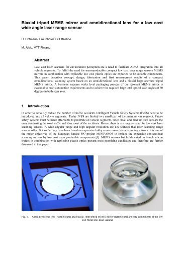 Biaxial tripod MEMS mirror and omnidirectional lens for a low cost ...