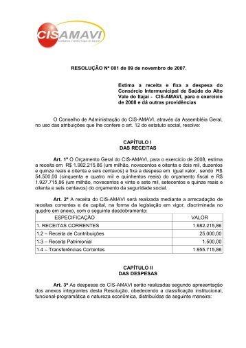 Orçamento 2008 - AMAVI