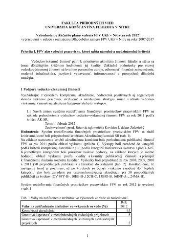 Vyhodnotenie akčného plánu FPV UKF v Nitre za rok 2012 - Fakulta ...
