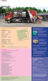 Baden ist. Service Entsorgungskalender 2013 - Ferro AG