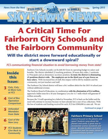 A Critical Time For Fairborn City Schools and the Fairborn Community