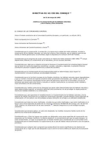 Directiva 92 43 CEE Del Consejo De 21 Mayo 1992 Relativa