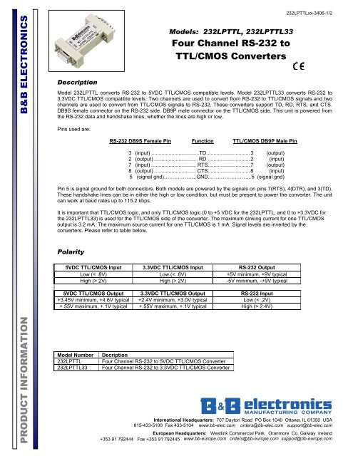 RS232 - TTL B /& B Electronics RS Converter Model# 232LPTTL