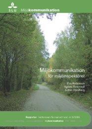 Miljökommunikation för miljöinspektörer - Epsilon Open Archive - SLU