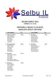 selbuløpet 2012 lørdag 19. mai offisiell resultatliste skolestafett jenter