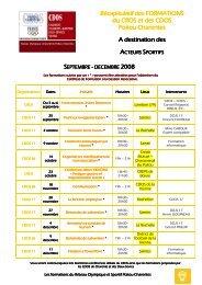 Les formations Réseau septembre - CROS de Poitou-Charentes